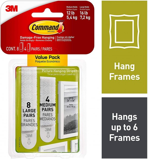 Command Picture Strips - Damage Free Hanging in Medium / Large Combi Pack