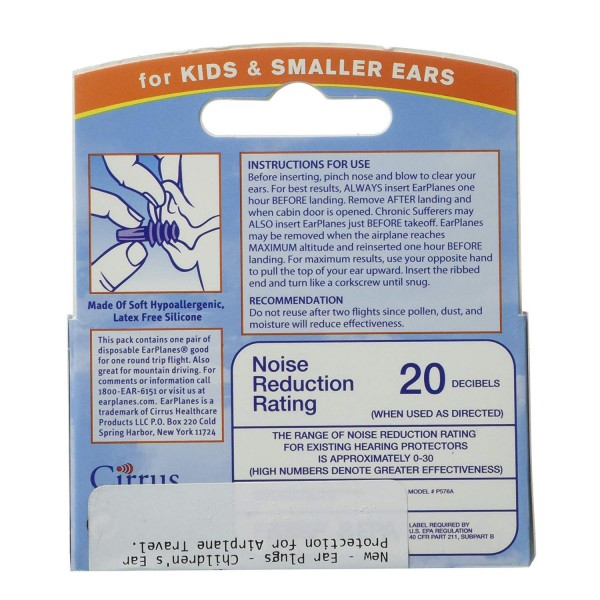 Earplane Kids Smaller Ears Earplugs Protection