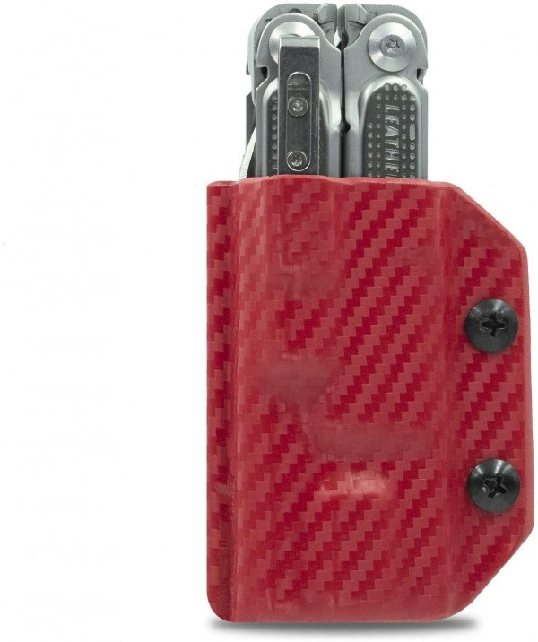 Clip & Carry Kydex Multitool Sheath in Carbon Fibre Red for Leatherman Free P2