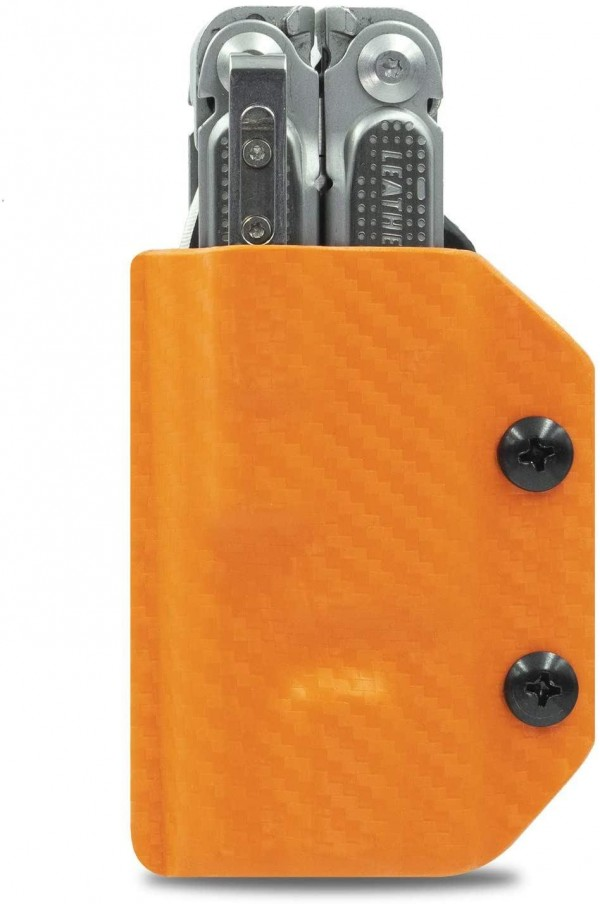 Clip & Carry Kydex Multitool Sheath - Carbon Fibre Orange for Leatherman Free P2