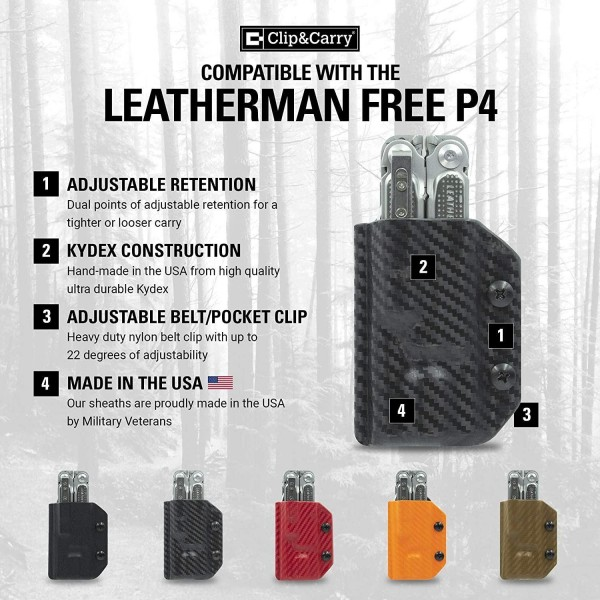 Clip & Carry Kydex Multitool Sheath in Black for Leatherman Free P4