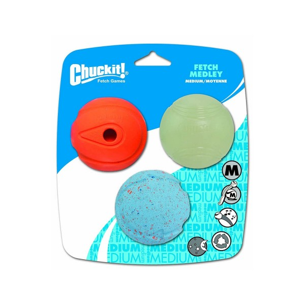 Chuckit 3 Pack Dog Assorted Balls Glow in the Dark, Bounce and Whistle Fetch Toy Medley - Medium