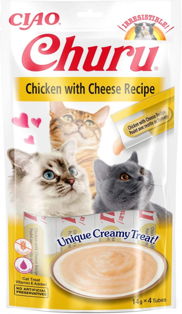 Inaba Ciao Churu lick-able puree treat for cats Chicken & Cheese Pack of 4 x 14g Tubes