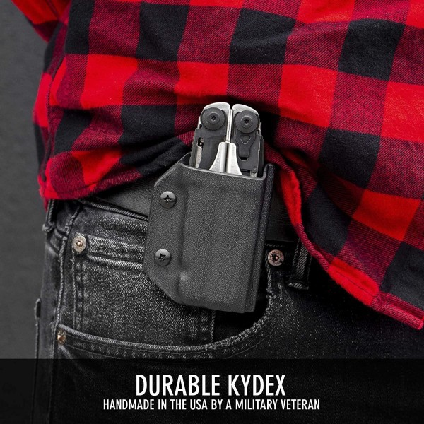 Clip & Carry Kydex Multitool Sheath in Carbon Fibre Black for Leatherman Surge