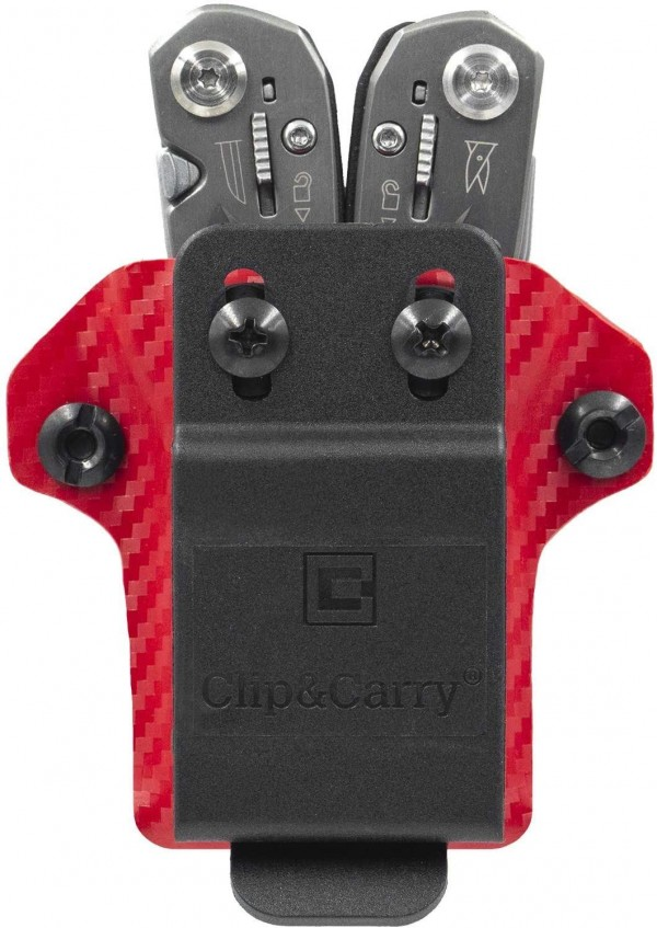 Clip & Carry Kydex Multitool Sheath in Carbon Fibre Red for Gerber Suspension