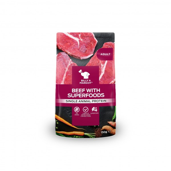 BILLY + MARGOT BEEF WITH SUPERFOODS POUCHED WET DOG FOOD (PACK OF 12)