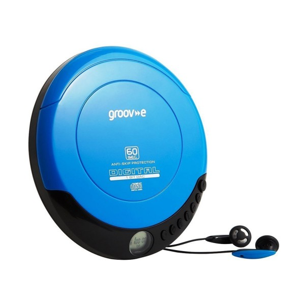 Groov-e Retro Series Personal CD Player with Earphones - Blue