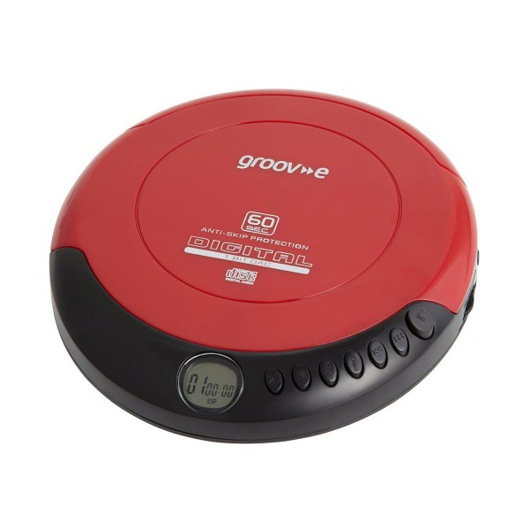 Groov-e Retro Personal CD Player With Earphones- Red