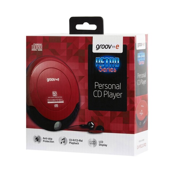 Groov-e Retro Personal CD Player with LCD display - Red