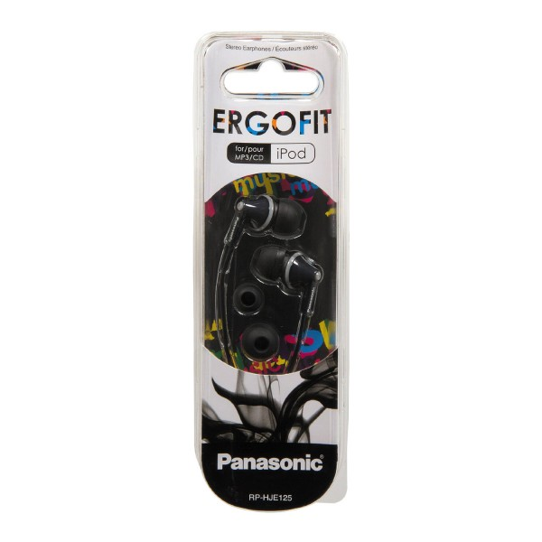 Panasonic Ergo Fit Earphones Headphones - Black - Brand New