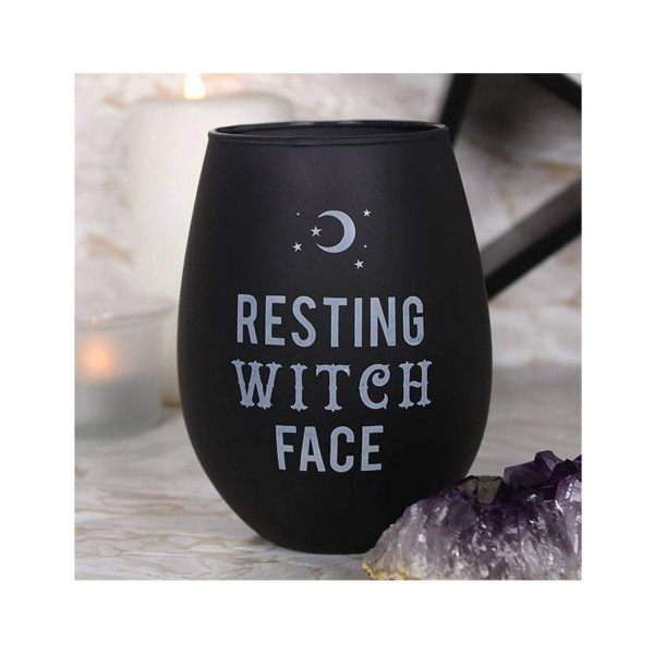 Resting Witch Face Stemless Wine Glass - Black