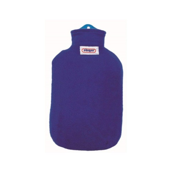 Sanger 2 Litre Hot Water Bottle With Blue Comfortable Removable Fleece Cover