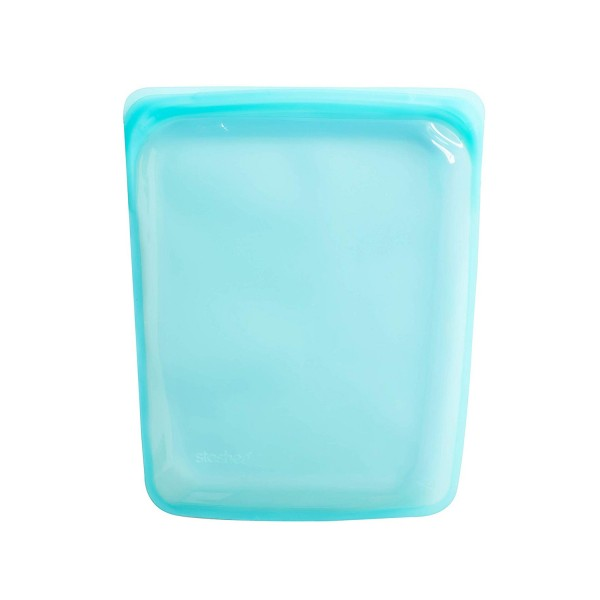 Stasher Re-Usable Food-Grade Platinum Silicone Snack Bag for Eating From/Protecting Electronic Devices/Organising/Travelling, 11.45 cm x 19.05 cm, Aqua Blue XL Extra Large Half Gallon 2 Litres Plastic free Buy Online UK