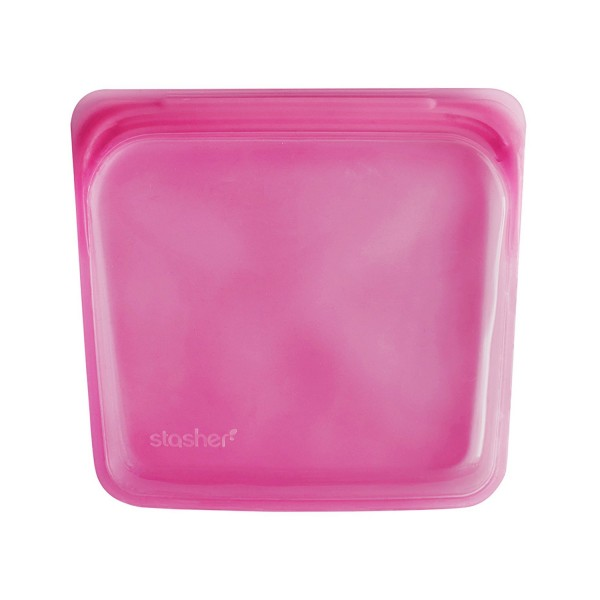 Stasher Re-Usable Food-Grade Platinum Silicone Sandwich Bag for Eating from/Cooking, Freezing and Storing In/Organising/Travelling, 19.05 cm x 19.05 cm, Rasberry - Buy Online UK