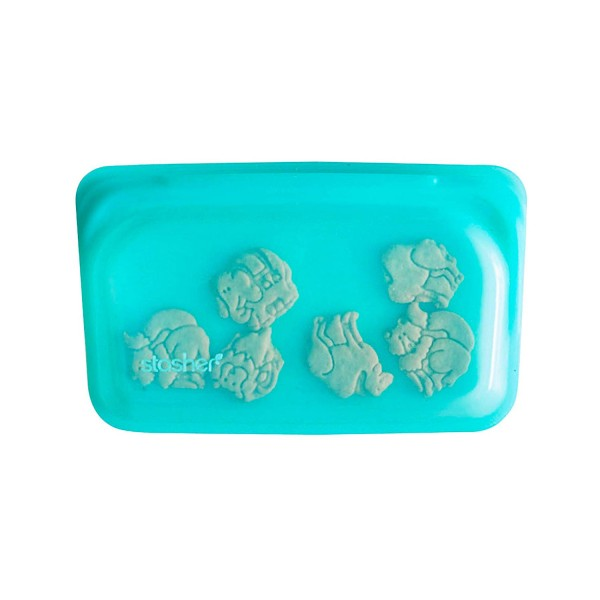 Stasher Re-Usable Food-Grade Platinum Silicone Snack Bag for Eating From/Protecting Electronic Devices/Organising/Travelling, 11.45 cm x 19.05 cm, Aqua Buy Online UK Small