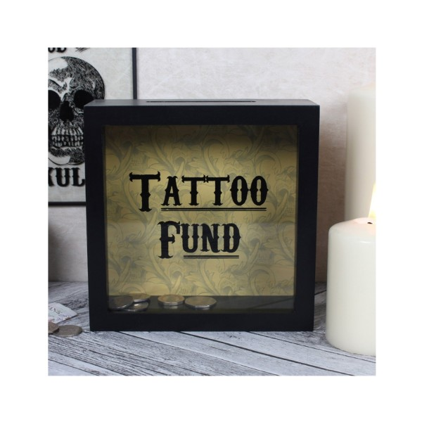 Cabinet of Curiosities Black Tattoo Fund Glass Money Box with Wooden Frame