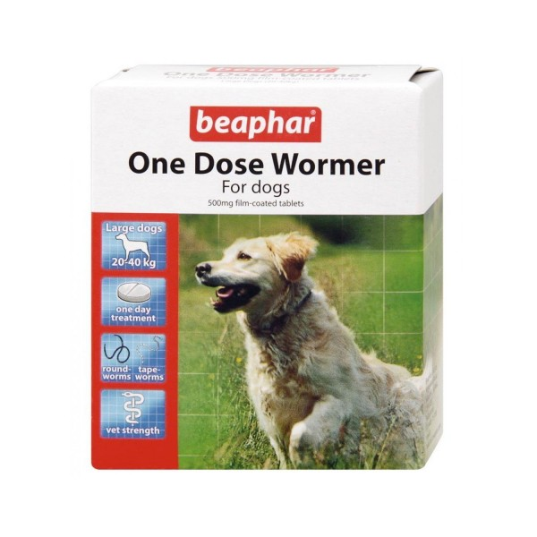 Beaphar One Dose Wormer 4 Tabs for Large Dogs
