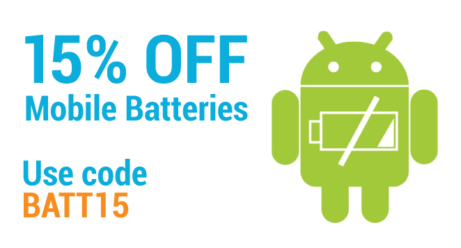 15% Off Mobile phone batteries